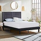 Olee Sleep 14 Inch Dura Metal Faux Leather Wood Platform Bed Frame, Black, Full