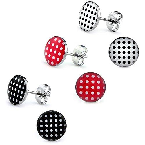 3 Paar Polka Dot Ohrstecker Ø 10mm Edelstahl [ Rot - Schwarz - Weiß ] Rockabilly Ohrringe für Damen