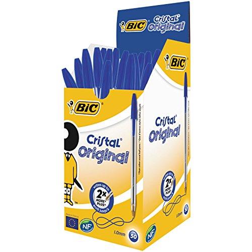 BIC Kugelschreiber Cristal Original, in Blau, Strichstärke 0,4 mm, 50er Pack, Ideal für das Büro, das Home Office oder die Schule