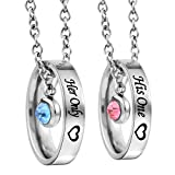 MJartoria Matching Necklaces for Couples, His and Hers Engraved Rhinestone Ring Pendant Set Gifts for Boyfriend Girlfriend(Silver-His One Her Only)