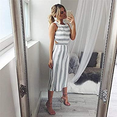 Corriee Striped Jumpsuit for Teen Girls Casual Cotton Sleeveless Wide Leg Rompers Pants Stylish Summer Outfit