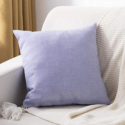 Throw pillow Dh182 Plain cotton and linen thickened square pillow solid color home sofa cushion linen large pillow living room backrest pillow-45x45cm pillow core pillowcase thick cotton linen_Light