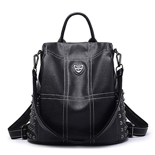 TEBIEAI Women's Backpack Handbags Ladies Rucksack Shoulder Bags PU Leather Mini Anti-theft Dayback TEUK71184 Black