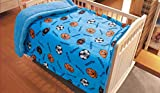 Elegant Home Kids Soft & Warm Sherpa Baby Toddler Boy Blanket Printed Borrego Stroller or Baby Crib or Toddler Bed Blanket Plush Throw 40X50 (Ball)