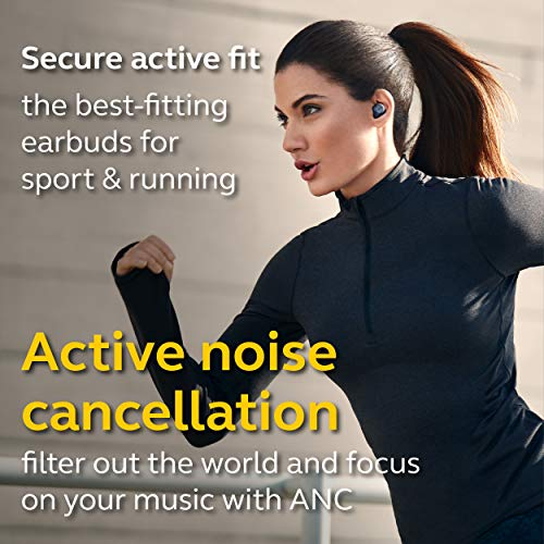 Jabra Elite Active 75t True Wireless Bluetooth Earbuds, Navy – Wireless Earbuds for Running and Sport, Charging Case Included, 24 Hour Battery, Active Noise Cancelling Sport Earbuds