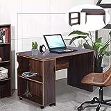FurnitureR Escritorio grande para computadora de escritorio Mesa de estudio esencial con estantería móvil Tablero de partículas de madera 120.3 x 59.2cm Escritorio de oficina en casa vintage...