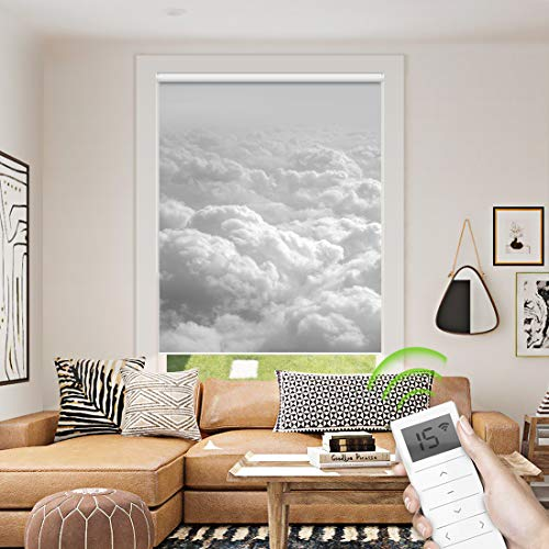 Motorized Window Roller Shade Remote Control Wireless and Rechargeable - Patterned Window Shades Blackout or Light Filtering Fabric for Home and Office Customized Size (Cloud - Motorized)