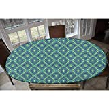 Elastic Polyester Fitted Table Cover,Rhombuses and Triangles with Curved Stripes Retro Pattern Abstract Illustration Decorative Oblong/Oval Elastic Fitted Tablecloth,Fits Tables up to 48
