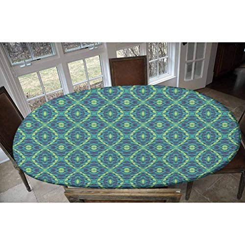 Elastic Polyester Fitted Table Cover,Rhombuses and Triangles with Curved Stripes Retro Pattern Abstract Illustration Decorative Oblong/Oval Elastic Fitted Tablecloth,Fits Tables up to 48' W x 68' L