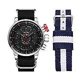 WEIDE Men Analog Quartz Watch LED Date Wristwatch for Men Casual Sport Nylon Band Interchangeable Canvas Strap (Silver Case)