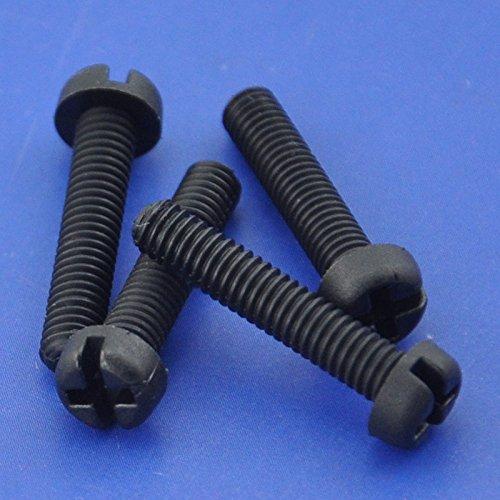 Electronics-Salon 1000pcs M4 x 25 mm Vis à tête Phillips/à fente en nylon noir.