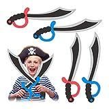 Relaxdays Set de cuatro espadas de pirata, Gomaespuma, Carnaval, Halloween, Infantil, 41 cm, multicolor, (10027757)