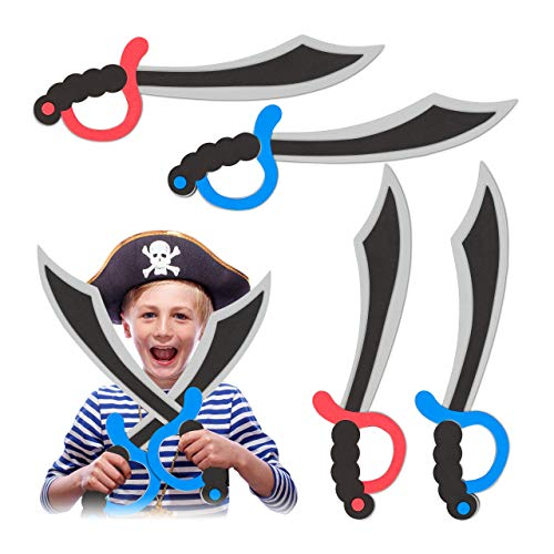 Relaxdays 10027757 Piratensäbel 4er Set, Schaumstoff, Karneval, Fasching, Halloween, für Kinder, Piratenschwert, 41 cm lang, bunt