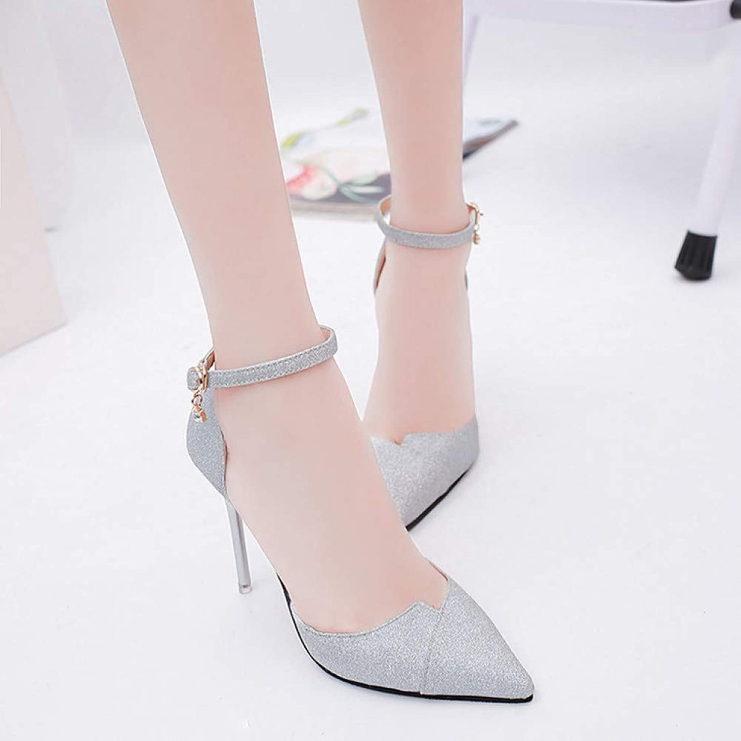 UKJSNHH igh Heels Summer High-Heeled shoes Female Fashion Hollow with Sandals Korean Pointed of The Thin Breathable Crystal Women Pumps