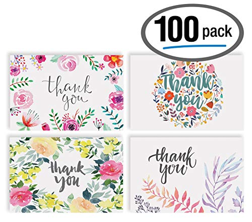 Thank You Cards with Envelopes (100 Pack), 4 Cover Designs, Blank Inside, by Better Office Products, All Occasions, Baby Showers, Graduation, and Weddings, Floral Collection, 100 Pack