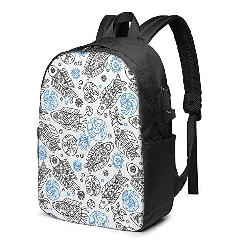 BYTKMFD Mochila de viaje con patrón de geometría, mochila para ordenador portátil, para hombre y mujer, extra grande, antirrobo, con puerto de carga USB de 17 pulgadas, Peces y conchas 2, Talla única