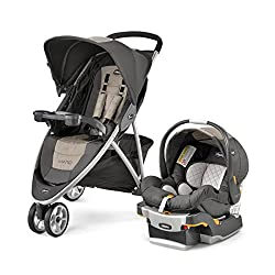 Image of the Chicco Viaro Travel System in Teak with link to purchase through Amazon