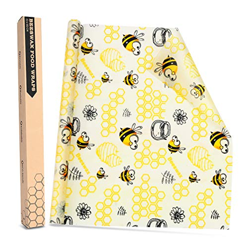 Joyoldelf Bienenwachstucher Beeswax Warp Wachspapier Bienenwachstuch Lebensmittel Umweltfreundliche, abfallfreie, Waschbare und Wiederverwendbare Aufbewahrung von Lebensmitteln 33.1 x 100cm