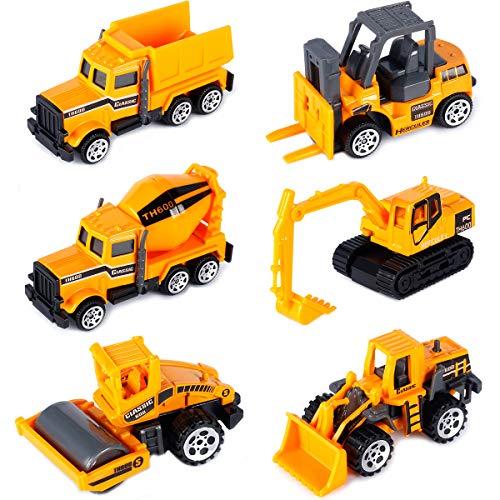 Dreamon Mini Legierung Bagger Lastwagen Autos Set Fahrzeugset Kleinkind Baustelle Spielzeug ab 3 Jahren (6 pcs Set)