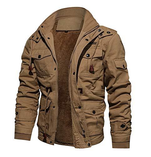 CRYSULLY Men's Fall Fashion Long Sleeve Lightweight Cargo Jackets Military Front Zip Coat Jacket Khaki/US L/tag4XL
