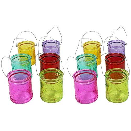 Annastore 12 oder 6 Stück Windlichter aus Glas zum Hängen mit Henkel H 7 cm -Teelichtgläser klar im Vintage Look - Hängeteelichthalter (12 x Bunt)