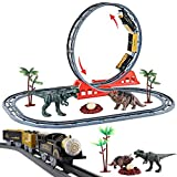 deAO Parco Giurassico Binari del Treno nel Mondo dei Dinosauri Set per Bambini Include Circuito a Doppio Ciclo, Treno Elettronici e Accessori per Rotaie