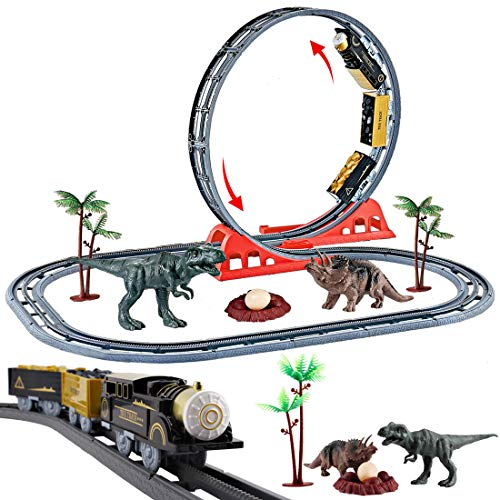 deAO Parque Jurásico Vías de Tren en el Mundo de los Dinosaurios Con