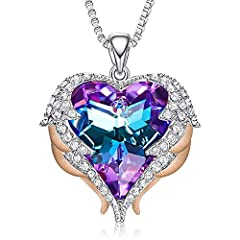 【High Quality Material】18K White Gold Plated, totally Lead and Nickel free, cause no harm to your skin. Compare to other necklace, we passed the Swiss SGS Quality Inspection. 【Angel Wings Design】The heart shape pendant with sparkly sheen shines while...