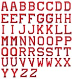 Jacknb Letter Iron on Patches Sew On Appliques Red Alphabet Embroidered Patch Letter A-Z Decorative Patches DIY Custom Name Badge Repair Patches for Clothing Hats Jackets Shoes (52 Piece)