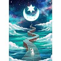大人の子供5Dダイヤモンドアート絵画セットフルダイヤモンド 星空の月 DIYモザイククロスステッチ刺繡装飾ダイヤモンドアートキット15.7x19.7in