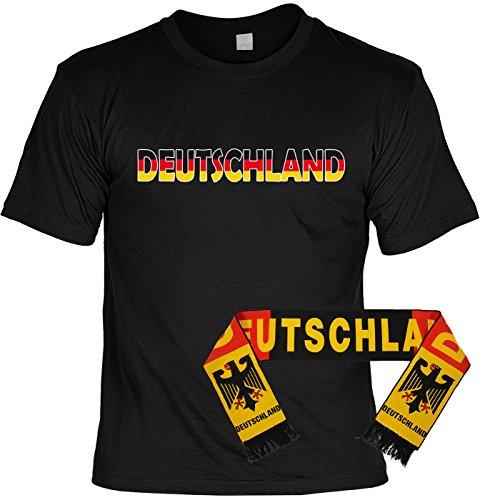 Veri 2-teiliges Fussball WM 2018 Deutschland T-Shirt Fanartikel Set Bundesliga Fan schwarz rot Gold Trikot und Fanschal Fußball EM WM schal 158x18 cm Gr. 4XL : -
