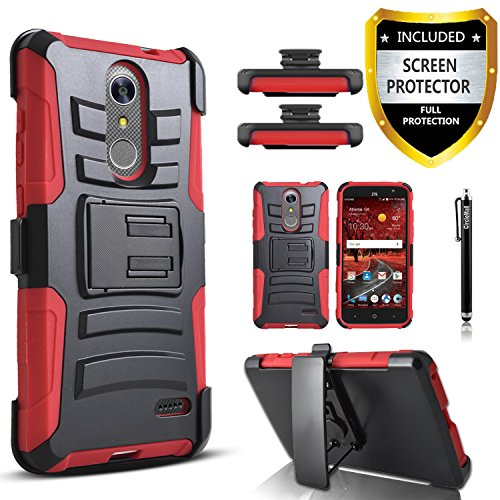 Circlemalls [Combo Holster] and Built-in Kickstand Case Hybird Shockproof Phone Cover and Stylus Pen Compatible for ZTE Blade Spark/ZTE Grand X4 / ZTE Zmax One, with [Premium Screen Protector]-Red