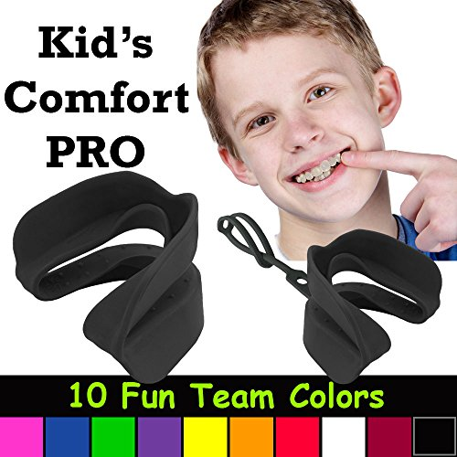 Kid's Comfort PRO Youth Double Sports Mouth Guard Works with or Without Braces (Black)