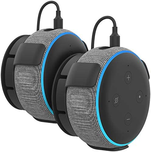 Photo of AHASTYLE 2 Pack Echo Dot Wall Mount Hanger Holder ABS [Built-in Cable Management] for Echo Dot 3rd Generation Smart Home Speakers (2 Pack, Black)