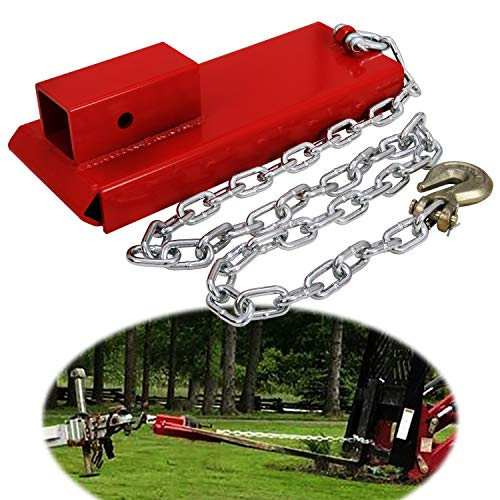 """CNSY 2"""" Pallet Fork Trailer Towing Adapter Clamp On Forklift Hitch Receiver with Chain"""
