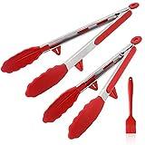 AhaSky Mehrzweckzange/Kitchen Grillzange/Küchenzange, 2er Set Zange aus Hochwertigem Edelstahl und Hitzebeständigem Lebensmittelqualität Silikon (12'-30.5cm&14'-35.5cm) mit Silikon-Backpinsel (Rot)