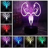 Tianyifengg 3D-LED-7 Farbe-Fern-Nachtlicht-Energie Spielhaus EIS und Feuer Lied Nachtlicht...
