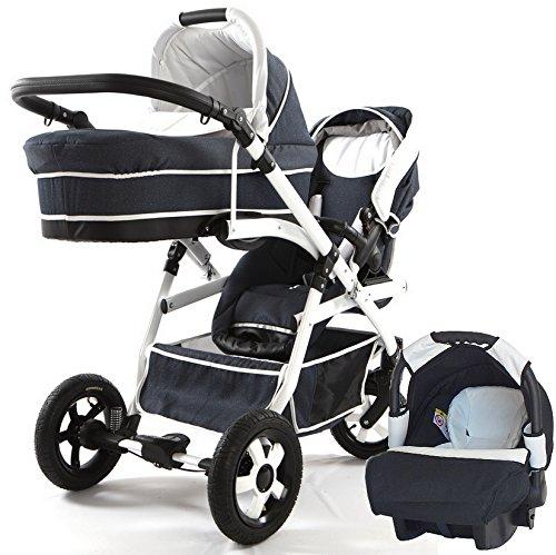 Carro doble niños diferentes edades. 2 sillas + 1 capazo + 1 grupo 0. Onyx Tandem BBtwin cochecito gemelar (jeans)