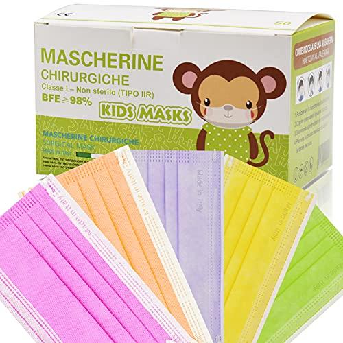 PARTY MONSTER 50 Pezzi MADE IN ITALY Mascherine Bambini Colorate Protettiva Personale 3 strati CE tipo IIR, Nasello Regolabile, Pacchi individuali 5 colori (Multicolore N13)