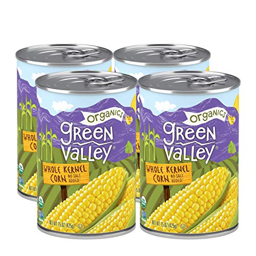 Green Valley Organics Whole Kernel Corn | Certified Organic | 100% Supersweet Variety Corn | Non-GMO | 15 oz can (Pack of 4)