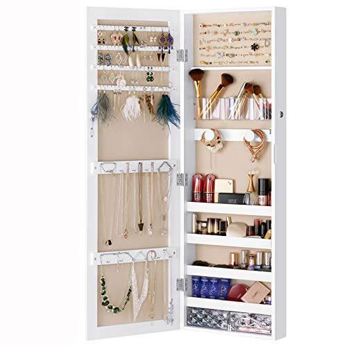 LUXFURNI Schmuckschrank mit spiegel, Wandmontage/Tür hängend, abschließbar, Organizer mit Schubladen, weiss