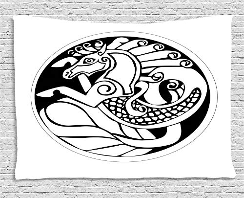 Ambesonne Celtic Tapestry, Druidic Astronomical Symbol of Unicorn Water Horse in Circle Pattern Artwork, Wall Hanging for Bedroom Living Room Dorm, 60' X 40', Black and White