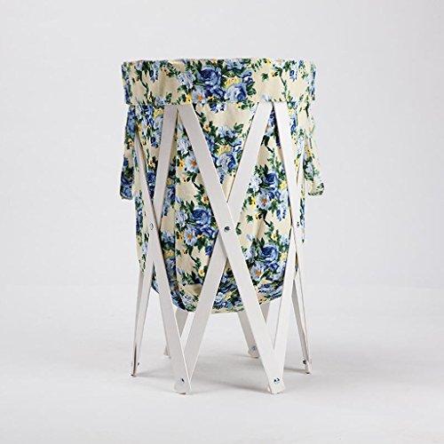 Xuan - Worth Another Tissu Bleu Motif Floral Stent Blanc Changer Les paniers de vêtements Panier de Rangement Salle de Bain en Tissu avec Panier à Linge Plier Le Panier