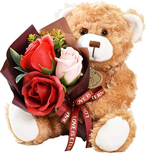 テディベア くま ぬいぐるみ シャボンフラワー ソープフラワー 薔薇 枯れない 花 ブーケ 花束 溢れる お花 クリスマス プレゼント 母の日 出産祝い 結婚祝い お見舞い 誕生日 ギフト 還暦 お祝い ラッピング 包装 (テディベアレッド)