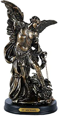 Pacific Giftware St. Michael San Miguel The Great Protector Archangel Defeating Satan Figurine 8 Inch Tall Wooden Base with Brass Name Plate