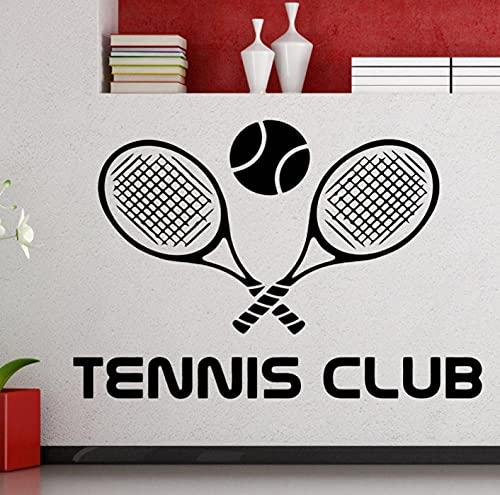 Pegatina De Pared Con Logotipo De Club De Tenis, Deportes De Tenis, Raqueta De Tenis, Calcomanía De Pared, Vinilo, Decoración Interior De La Habitación, Mural Removible Impermeable 42X29Cm