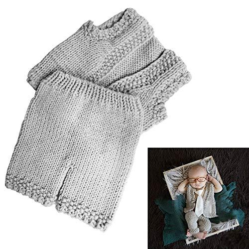 Nouveau-Né Photographie Tenues Bébé Crochet Tricoté Costume Gilet Et Pantalon Ensemble Infantile Photo Accessoires Photo Toile de Fond pour 0-3 Mois Garçons Filles