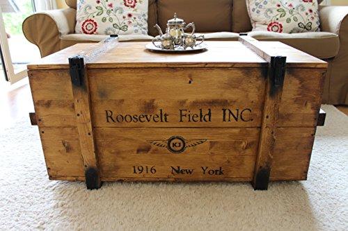 Uncle Joe´s Truhe Holzkiste Roosevelt Field, 85 x 45 x 48 cm, Holz, Hellbraun, Vintage, Shabby chic Couchtisch, braun, 85x45x48 cm - 2