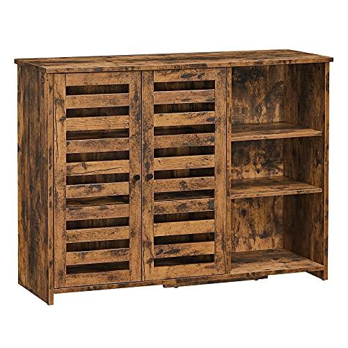 VASAGLE Sideboard, Küchenschrank mit 2 Lamellentüren, verstellbare Ablage, freistehend, 3 offene Fächer, für Esszimmer, 100 x 35 x 75 cm, vintagebraun LBF004X01