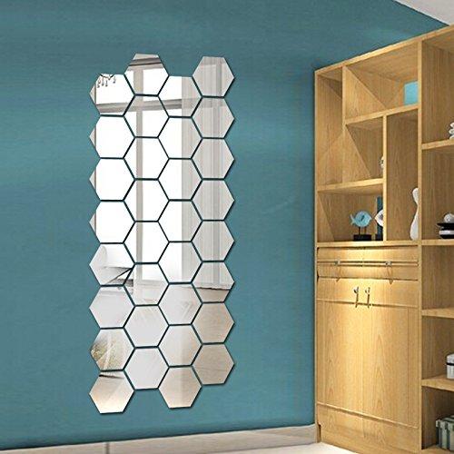 12 Pegatina Vinilo Espejo Hexágonal Arte DIY Adhesivos Decorativa para habitación salón baño y Comedor- 3D Lamina Espejo...